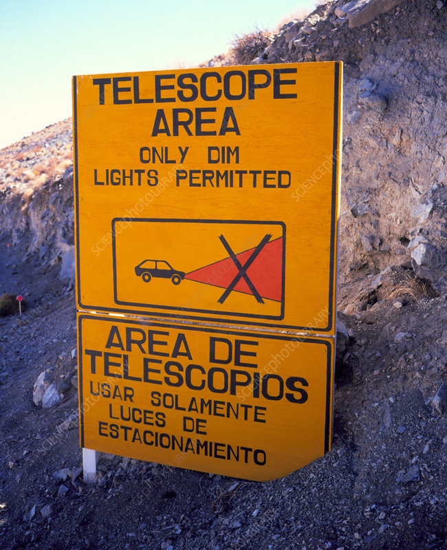 Light pollution warning sign at Las Campanas,Chile