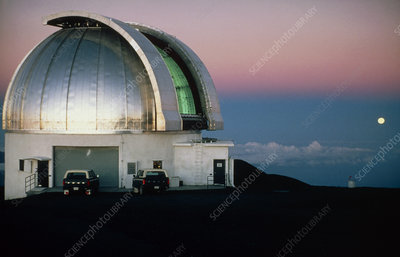 Moon over the UK Infrared Telescope dome, Hawaii