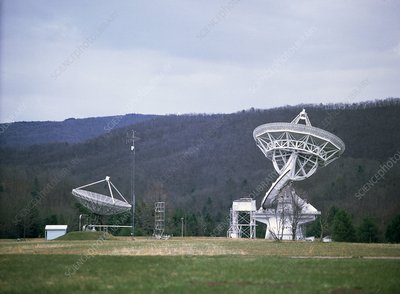 Radio telescope dishes, Greenbank Observatory USA
