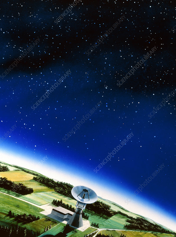 Illustration of a radio telescope in the night