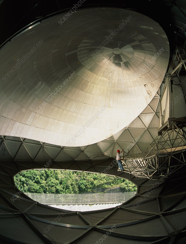 Inside radome of upgraded Arecibo radio telescope