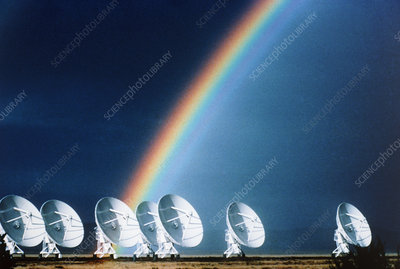 Rainbow over the dishes of the VLA radio telescope