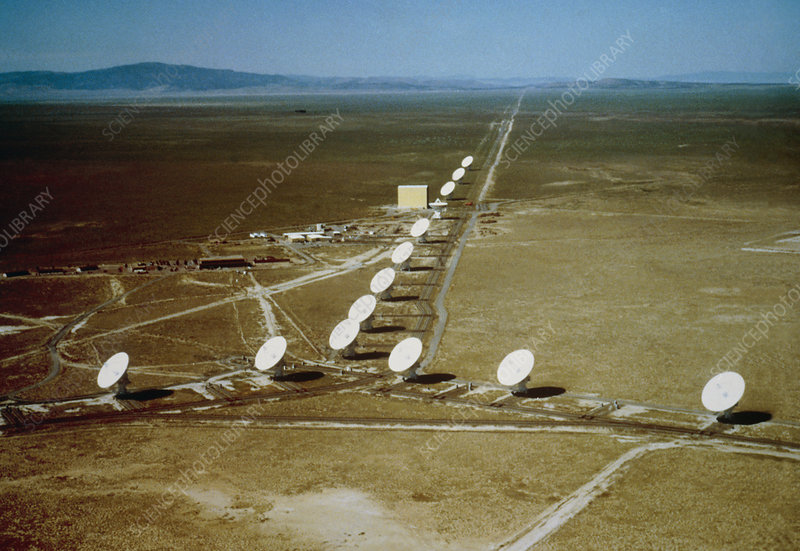 Aerial view of Very Large Array radio telescope