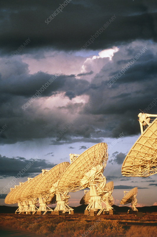 Some of dish antennae that make up VLA telescope