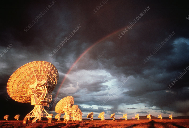 Rainbow over the VLA radio telescope