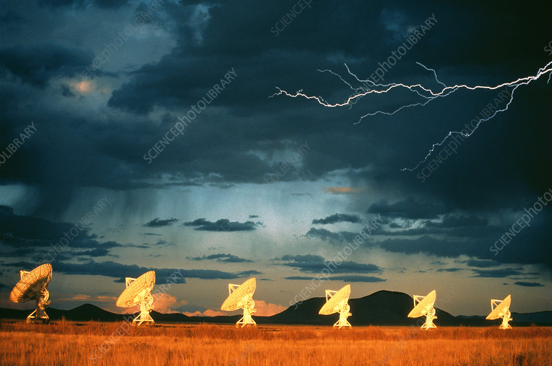 Lightning over VLA dishes, New Mexico