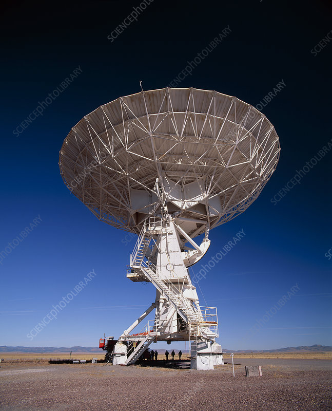 Very Large Array (VLA) radio antenna being moved