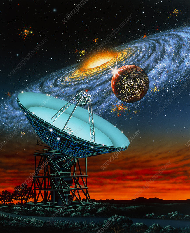 Artwork of radio dish antenna search for ET life