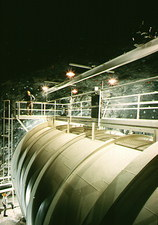 Tank of dry-cleaning fluid for solar neutrinos