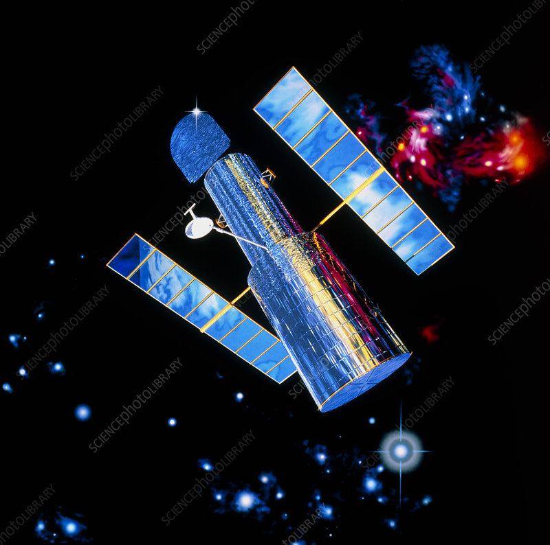 Artist's impression of Hubble Telescope in orbit