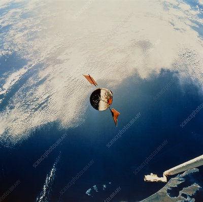 HST in orbit seen from Shuttle, STS-61