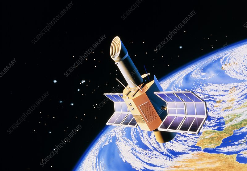 Illustration of space telescope over Earth