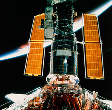 Hubble Telescope in the shuttle's cargo bay