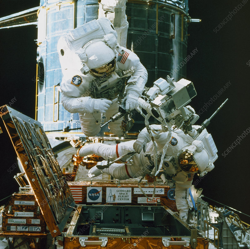 Astronauts spacewalk to repair Hubble telescope - Stock ...