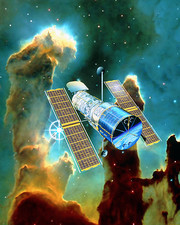 Artwork of Hubble Space Telescope and Eagle Nebula