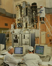 SOHO spacecraft during tests in France