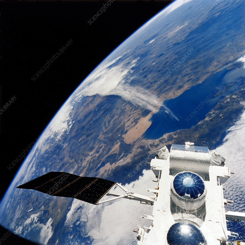 Compton Observatory satellite in orbit