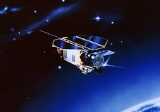 Artwork of ROSAT satellite in orbit