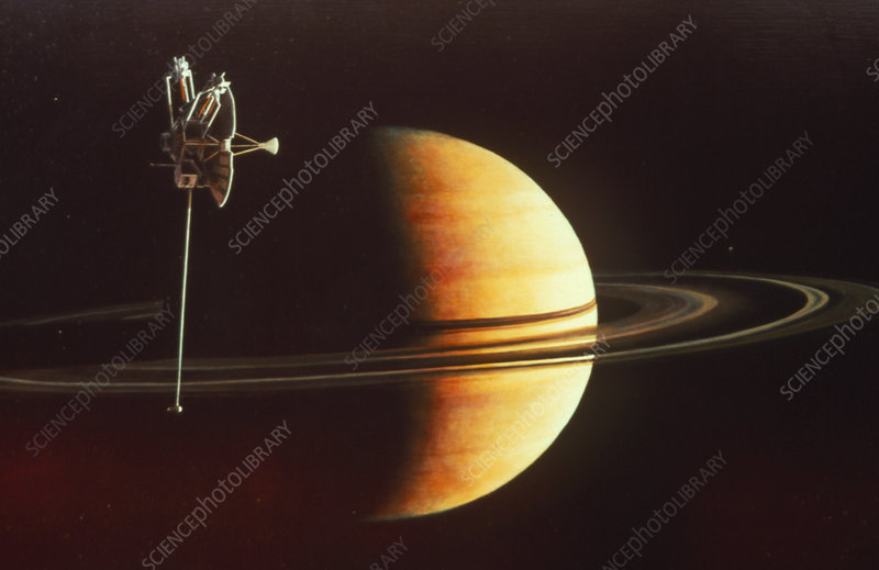 Pioneer 11 at Saturn, art