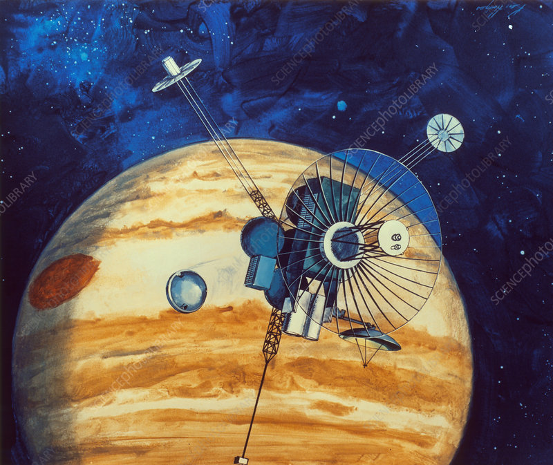 Artwok showing Galileo spacecraft nearing Jupiter