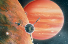 Artwork showing Galileo spacecraft nearing Jupiter