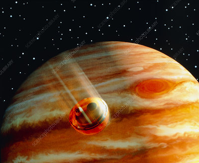 Galileo's Jupiter probe speeding toward the planet