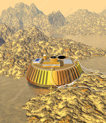 Huygens probe at touchdown on Titan
