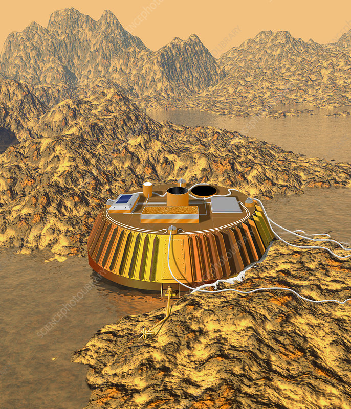 Huygens probe on the surface of Titan