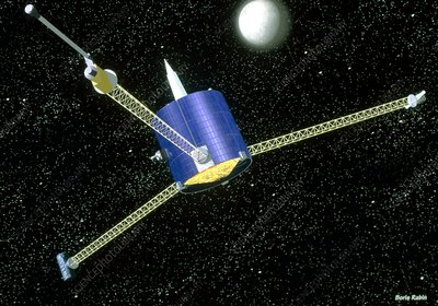Artwork of the Lunar Prospector spacecraft