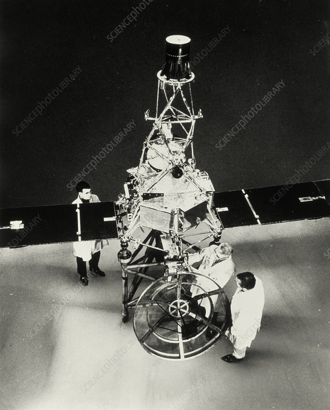 Technicians prepare the Mariner 1 spacecraft