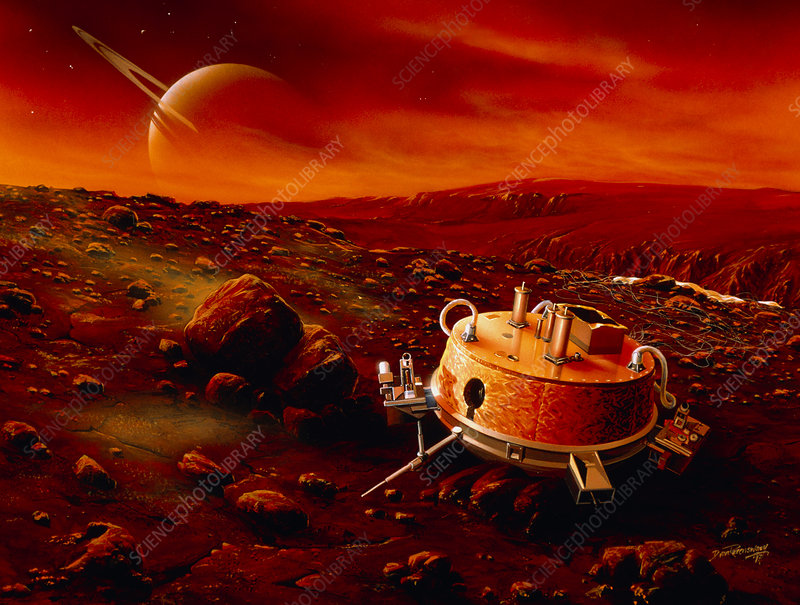 Artwork of Huygens probe on the surface of Titan