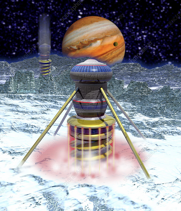 Computer art of probes drilling into Europa's ice