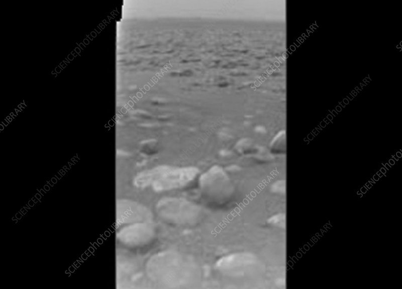 Titan's landscape, first raw image