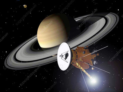 Artwork of Cassini approaching Saturn