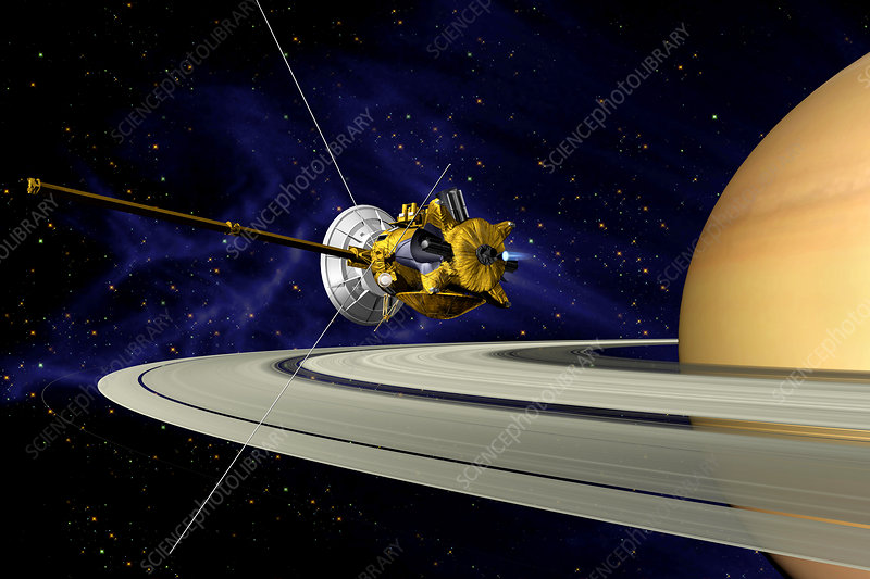 Artwork of Cassini during SOI maneuver