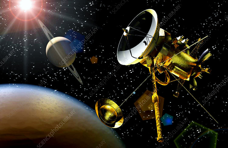 Artwork of Huygens probe approaching Titan