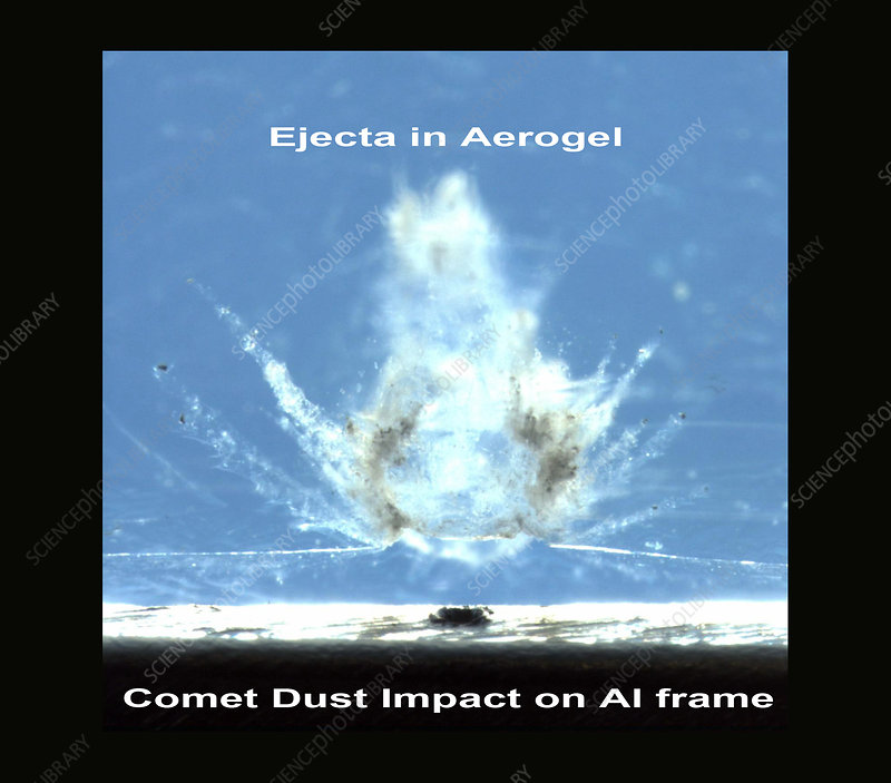 Stardust aerogel with comet dust impact