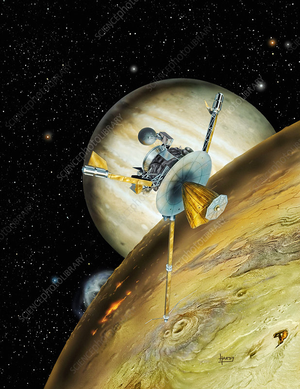 Galileo spacecraft with Io and Jupiter