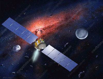 Dawn spacecraft in asteroid belt, artwork
