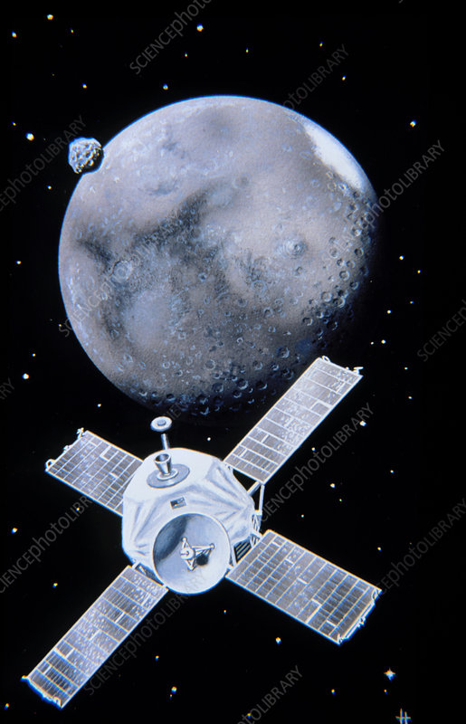 Artwork of the probe Mariner 9 approaching Mars