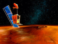 Artwork of the Mars Climate Orbiter orbiting Mars