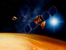 Artwork of Mars Surveyor 2001 Orbiter above Mars