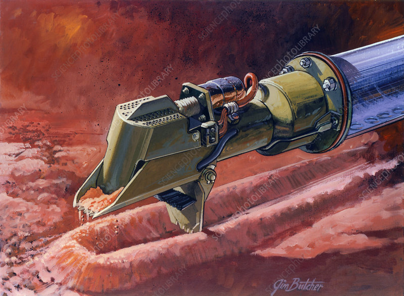 Artwork of Viking lander taking Mars soil sample