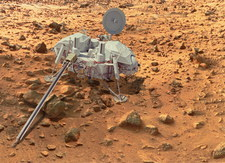 Digital composite image of Viking Lander on Mars