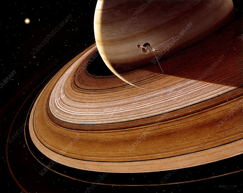 Artwork showing Voyager 2 approaching Saturn