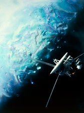 Artwork showing Voyager 2's encounter with Triton