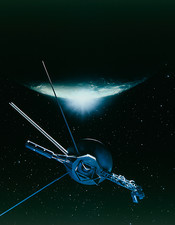 Artwork showing Voyager 2 leaving Triton