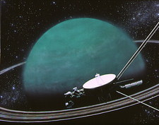 Artwork showing Voyager 2's encounter with Uranus