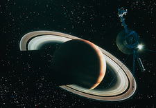 Artwork showing Voyager 1 leaving Saturn
