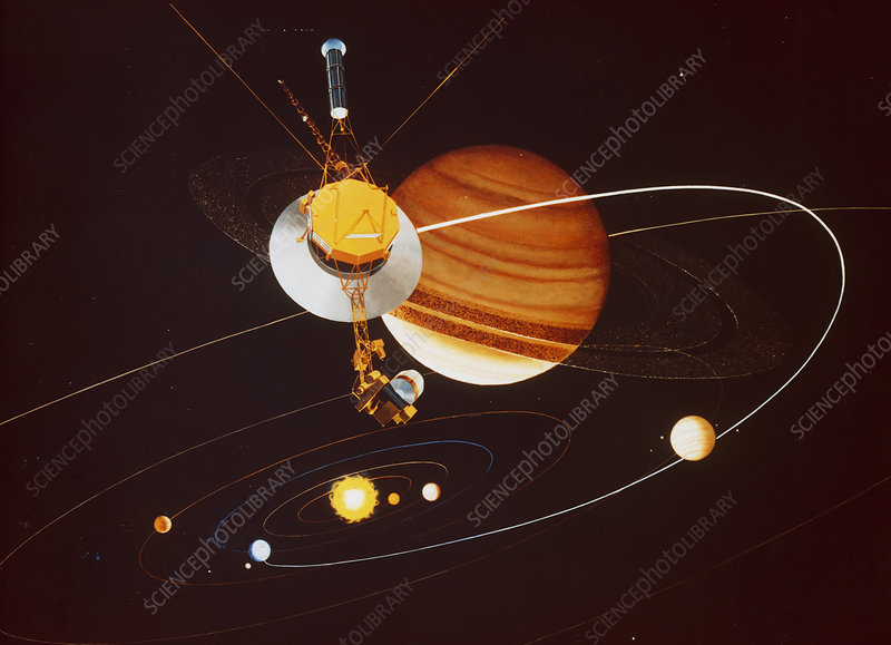 Artists impression of Voyager encountering Saturn